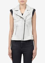 leather biker vest iro mert u0027 leather biker vest in white lyst