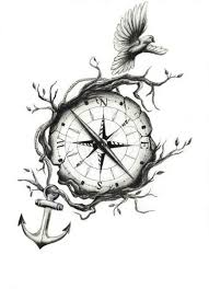 small flying bird and compass with anchor tattoo design