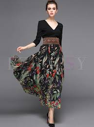 stylish stitching high waist maxi dress ezpopsy