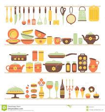 modern kitchen utensils set of kitchen utensils and food stock vector image 50379121