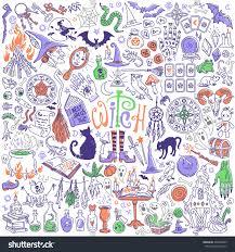 witchcraft halloween attributes doodles set palmistry stock vector
