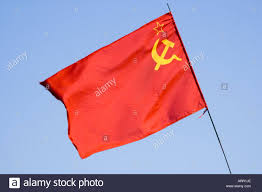 Red Flags Socialism Emblem With Red National Flag Hanoi Vietnam
