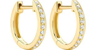 gold diamond hoop earrings lyst mcdonough classics 18k yellow gold diamond hoop