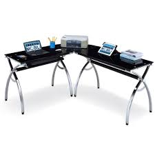 Glass Desk Office Furniture by Office Glass Office Desk Ideas Using Black Glass For Corner With L
