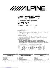 alpine mrv t757 manuals