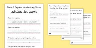 phase 3 sentence handwriting sheets handwriting sentences