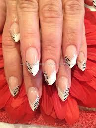 black and wife zebra print edge nail art