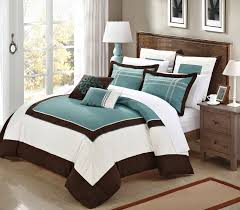 Blue Bed Set Bedroom Teal And Brown Also White Bedding Set Added Brown Wooden