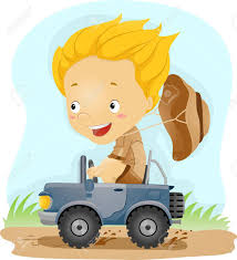 jungle jeep clipart illustration of a kid driving a small jeep stock photo picture
