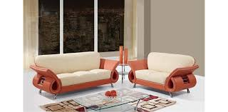 Genuine Leather Sofa Sets U559 Leather Sofa Set 3pc Orange Beige Global