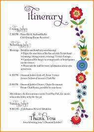 wedding itinerary template for guests birthday itinerary template