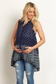 sleeveless blouses navy blue floral tribal border sleeveless maternity blouse