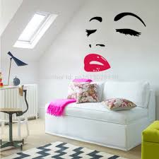 marilyn monroe wall decal decor quote face red lips wall murals