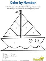 sailboat fun color by number coloring page printable