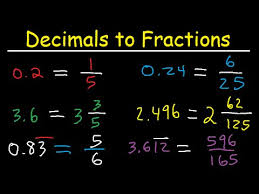 decimals to fractions in simplest form improper fractions and