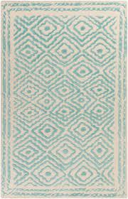 Diamond Area Rug by Ats 1004 Teal Beige Hand Knotted Diamond Print Rug