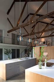 smart kitchen interior design idea with glass modern pendant