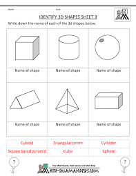kindergarten 3 dimensional shapes shapes worksheets projects
