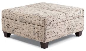 Storage Ottoman Upholstered Furniture Big Square Beige Upholstered Patterned Storage Ottoman