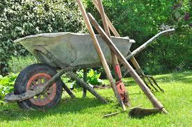 old gardening tools and wheelbarrow in the garden stock photo