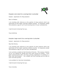 cover letter job application cover letter email resume example