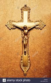 catholic golden cross of jesus crucified stock photo royalty free