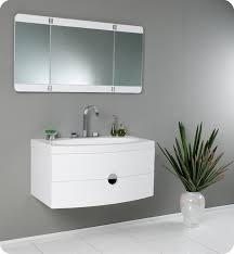Energia FVNPW White Modern Bathroom Vanity W Three - Designer bathroom cabinets mirrors