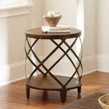 wood metal end table drum side tables hayneedle