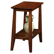 Power Chairside End Table Leick Delton Narrow Chairside Solid Wood End Table In Sienna