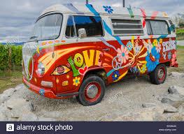 volkswagen van hippie blue painted vw hippie van at ruby blues winery naramata bench