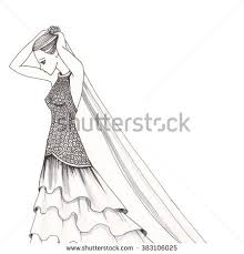 drawing wedding dresses wearing dress pencil drawing black stock illustration