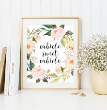 Floral Desk Accessories Office Print Cubicle Sweet Cubicle Office Decor New