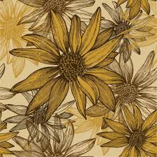 seamless wallpaper with flowers sunflower seeds hand drawing