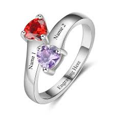 mothers rings 2 stones 2 crossed hearts engraved mothers or promise ring think engraved