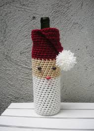diy weinflaschenhülle für advent weihnachten häkeln kleines