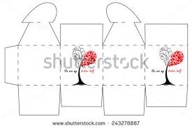 valentines day gift box template cube stock vector 243278887