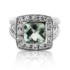 green amethyst engagement ring princess cut green amethyst halo ring in 14k white gold