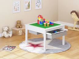 amazon com utex 2 in 1 kids construction lego table with storage