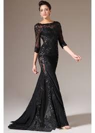 three quarter sleeve long black lace evening dress fashionoah com