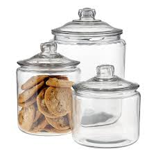 Kitchen Canister Sets Stainless Steel Anchor Hocking Glass Canisters With Glass Lids The Container Store