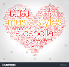 music styles word cloud heart italic stock vector 527309443