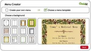 Tudor Menu Template menu maker activity cookit