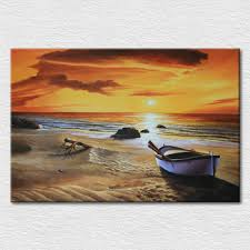 craft canvas printed modern picture warm color art the beach scene