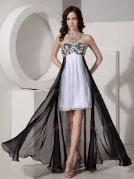 and white short front long back skirt prom dress