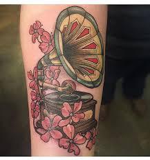 gramophone tattoo by jake omen at kustom thrills tattoo in