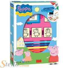 peppa pig kids art ink pad 4 stamps u0026 7 felt tip pens colouring