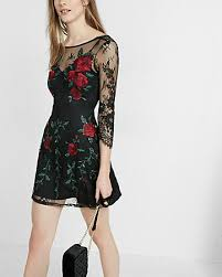 express dress embroidered floral lace fit and flare dress express