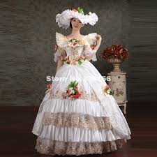 antoinette costume noble white sequined lace rococo southern dress women