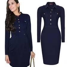 women office dress button pockets navy blue good guality causal