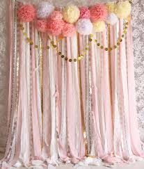 backdrop fabric pink white lace pom poms flowers sparkle fabric backdrop wedding